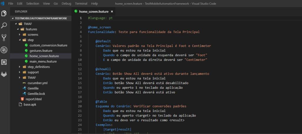 Estrutura de projeto no VSCode com Cucumber +Ruby
