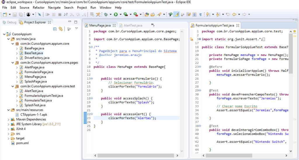 Estrutura de projeto no Eclipse em Java com Selecion + Appium + PageObject