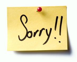 """Recado de """"sorry"""", ou """"desculpe"""""""