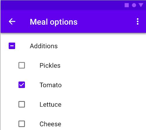 Caixas de seleção para que o usuário clique em várias opções.