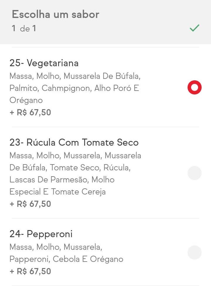 Print do iFood, em uma tela que permite escolher vários sabores de pizza, um exemplo de radio buttons.