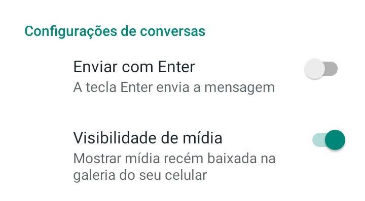 Print do WhatsApp, da tela que permite habilitar e desabilitar funções.